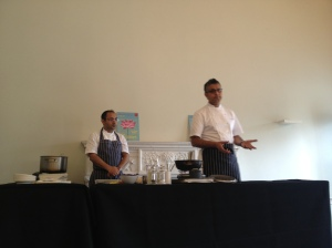 Atul Kochhar and his executive chef at Benares speak to the audience during his demo [My photo]