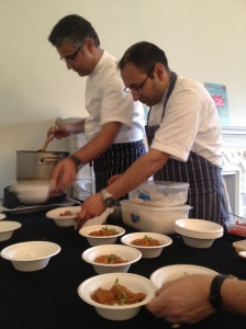 Kochhar and his executive chef help serve the dish to everyone in the room [My photo]