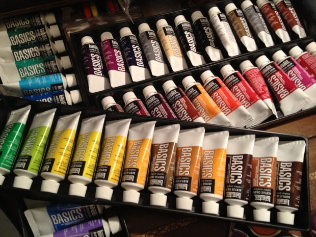 "Acrylic ""Basics"" paints, from Cass Art (link to buy)"